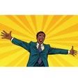 Happy African American businessman open hands for vector image