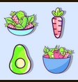 set of vegetables and fruits organ food vector image