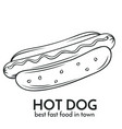 hand drawn hot dog icon vector image