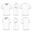 Mens white short sleeve t-shirt v-neck vector image