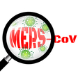 Magnifying glass with Mers virus vector image