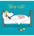 The lovely animation dog sleeps in a bed Wish vector image