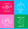 bright posters for international peace day text vector image