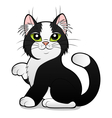cartoon black and white cat vector image