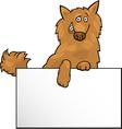 Cartoon dog with board or card design vector image