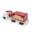 Flatbed Trailer Loading Paper Boxes in Container vector image