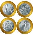 money gold coin one euro vector image
