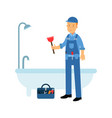 proffesional plumber character cleaning drain in vector image