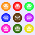 retro telephone handset icon sign A set of nine vector image