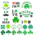 St Patricks day clover set vector image