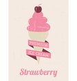 Strawberry Ice Cream Poster vector image