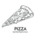 hand drawn pizza icon vector image