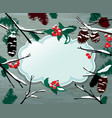 winter horizontal card with frame berries cone vector image vector image