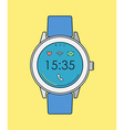 Retro smart watch in line art with time and icons vector image