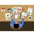 businessman office desk workplace concept vector image