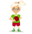cute girl holding a table tennis racket vector image
