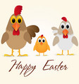 happy easter greeting card with chicken family vector image