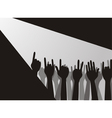 Large group of raising hands vector image