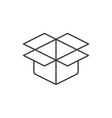 open carton box thin line icon linear vector image