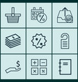 set of 9 commerce icons includes outgoing vector image