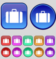 suitcase icon sign A set of twelve vintage buttons vector image