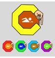 Swimming sign icon Pool swim symbol Sea wave Set vector image