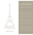World landmarks Paris France Eiffel tower Graphic vector image