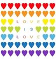 Love is love text Rainbow heart set Seamless vector image vector image