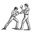 Two boxers fighting vintage engraving vector image