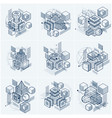 3d abstract isometric backgrounds layouts of vector image