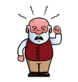 Old man shouting angrily vector image vector image