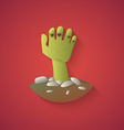 Zombie Hand  Funny Halloween Carton with Long Shad vector image vector image