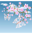 Flowering tree against a background of clouds vector image vector image