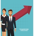 business people teamwork growth arrow vector image