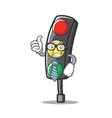 businessman traffic light character cartoon vector image