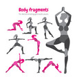 pack of body parts body workout set woman doing vector image