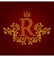 Patterned golden letter R monogram in vintage vector image