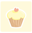 Sweet muffin lemon yellow cupcake with pink heart vector image
