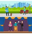 happy people horizontal banners vector image