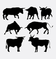 Bull animal silhouettes vector image