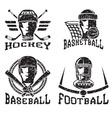 grunge vintage sport labels set vector image
