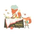Fox baking a cake vector image