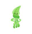 cute smiling green octopus cartoon character vector image