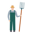 farmer with a pitchfork in hat and green overalls vector image