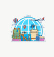travel globe with pin camera vector image