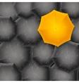 Yellow Umbrella on Black Background vector image
