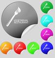 vegetarian restaurant icon sign Set of eight multi vector image