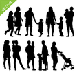 Kids and family silhouette vector image