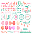 Happy Easter set of design elements vector image vector image