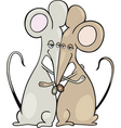 cartoon illustration of two mice in a hug vector image vector image